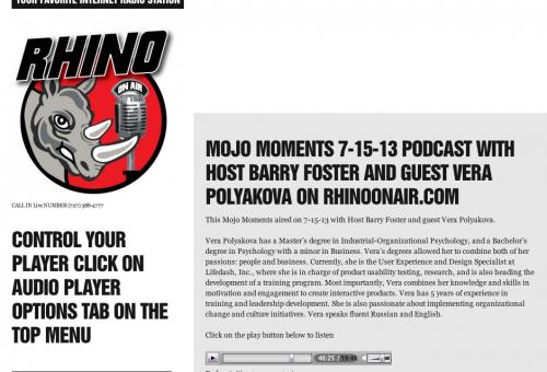 Mojo Moments 7-15-13 Podcast with Host Barry Foster and guest Vera Polyakova on RhinoOnAir.com